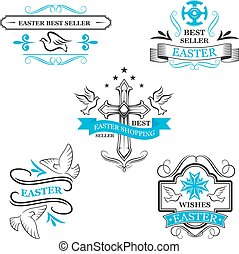 Easter sale icon ribbons, paschal discount lables - Easter...