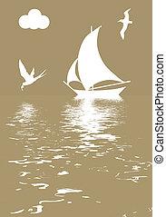 vector, Ilustración, velero, Océano
