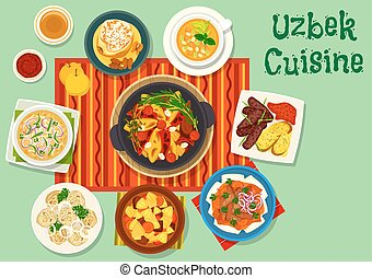 Uzbek cuisine icon for asian food design - Uzbek cuisine...