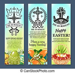 Easter and paschal eggs vector banners set - Happy Easter...