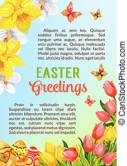 Easter poster greeting paschal eggs vector flowers - Easter...