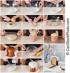A Step by Step Collage of Making Easter Bread - A Step by...