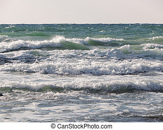 Caspian Sea. - Waves on the Caspian Sea. Month January.