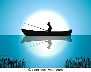 Vector background moon fisherman on boat fishes - Vector...
