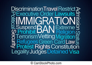 Immigration Ban Word Cloud on Blue Background