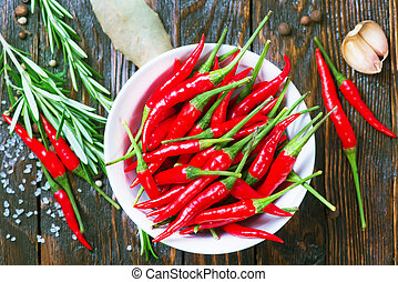 aroma spice - red hot chilli with salt and aroma spice on a...