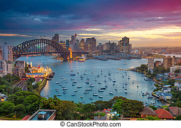 Sydney. - Cityscape image of Sydney, Australia with Harbour...