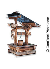 Water Well Isolated - Rural wooden water well isolated on...