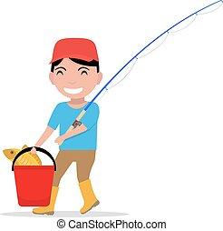 Vector cartoon boy going fishing rod bucket fish - Vector...