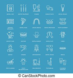 Dentist, orthodontics line icons. Dental care equipment,...