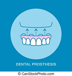 Dentist, orthodontics line icon. Dental prosthesis, tooth orthopedics sign, medical elements. Health care thin linear symbol for dentistry clinic