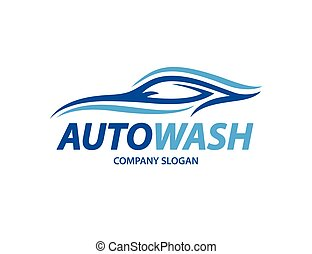Automotive carwash logo design with abstract sports vehicle...