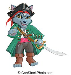 Pirate wolf - Bright wolf pirate captain with a sword in one...