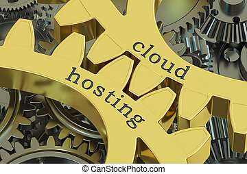 cloud hosting concept on the gearwheels, 3D rendering