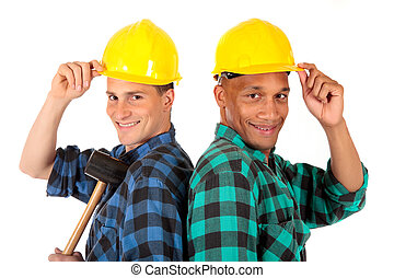 Sexy construction workers - Handsome Caucasian and african...