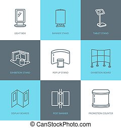 Advertising exhibition banner stands, display line icons....