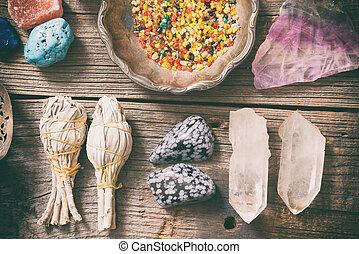 Natural rocks and white sage - Natural gemstones, white sage...