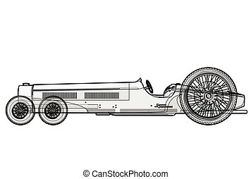Overly long car looks like limousine. Ancient car with six...