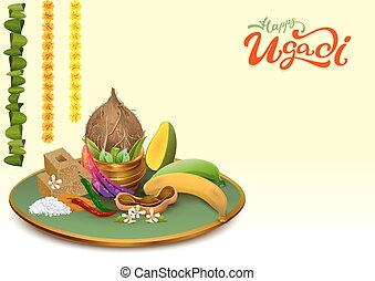 Happy Ugadi. Template greeting card Set Holiday accessories....