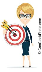Business woman holding target with arrow.