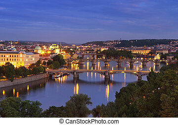 Bridges over the Vltava River, Prague, Czech Republic at night