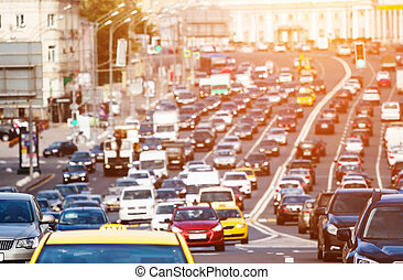 Traffic on the city highway - Heavy traffic on the city...