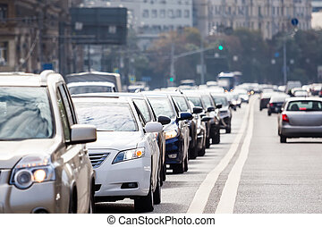 Traffic on the road - Congested lane with queue of cars