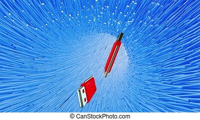 Flying usb flash drive in blue tunnel