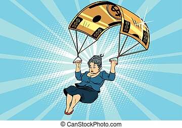 woman Golden parachute financial compensation in the...