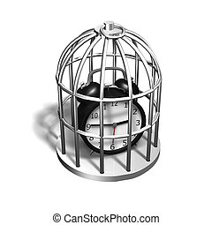 Alarm clock in the silver cage, 3D illustration - Alarm...