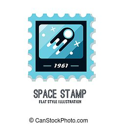 Post stamp with rocket in the space and flat stamp - Post...