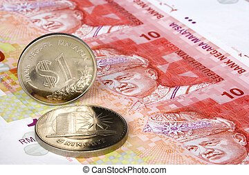 Malaysian Currency - Image of Malaysian notes and coins The...