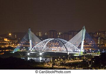 Modern Bridge at Night - Night image of a modern bridge at...