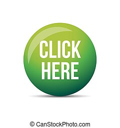 Click Here button vector green