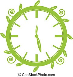 Green clock on white background. Vector illustration.
