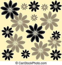 Flowers on toffee background. Vector illustration.