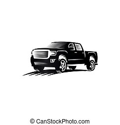 Isolated monochrome engraving style pickup trucks logo, cars...