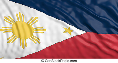 Waiving Philippines flag. 3d illustration - Waiving in the...