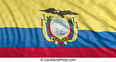 Waiving Ecuador flag. 3d illustration - Waiving in the wind...