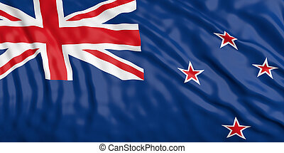 Waiving Zealand flag. 3d illustration - Waiving in the wind...