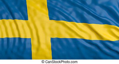 Waiving Sweden flag. 3d illustration