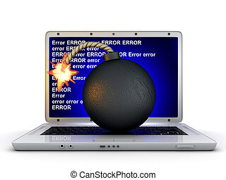 Laptop error and bomb (done in 3d)