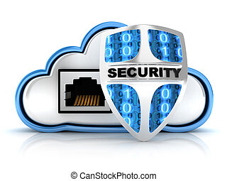 Cloud security - Blue Cloud security (done in 3d)