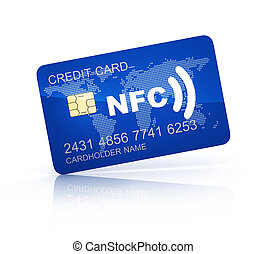 Credit card and NFC - Credit card and symbol near field...
