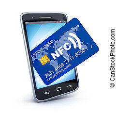 PDA and card nfc - Phone and card NFC on white background....