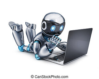 Robot working on laptop - Robot working at a laptop. 3d...
