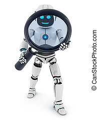 AI and lens - Robot and lens on white background (done in...