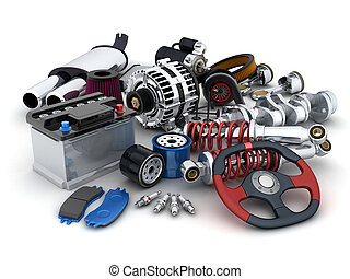 Car parts - Many auto parts (done in 3d)