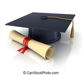 Trencher - trencher-cap and diploma (done in 3d)