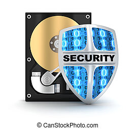 HDD and security symbol (done in 3d)